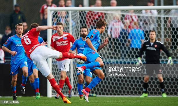 Jens Martin Gammelby of Silkeborg IF in action during the Danish Alka Superliga match between Silkeborg IF and AaB Aalborg at Mascot Park on April 1...