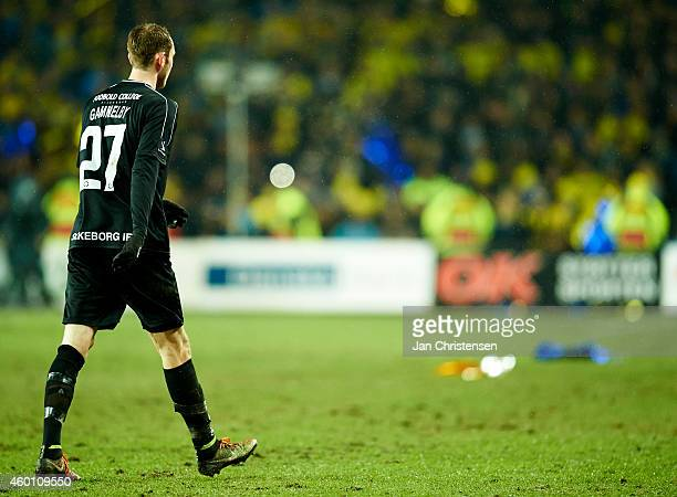 Jens Martin Gammelby of Silkeborg IF leaving the pitch after red card during the Danish Superliga match between Brondby IF and Silkeborg IF at...