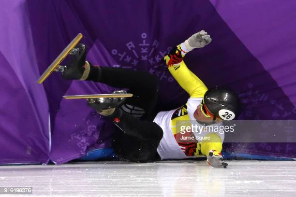 Jens Maurits Almey of Belgium crashes during the Men's 1500m Short Track Speed Skating semifinals on day one of the PyeongChang 2018 Winter Olympic...