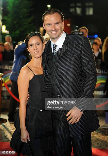Jens Nowotny and his wife Michaela arrive at the 'Ball of Stars 2008' on October 18 2008 in Mannheim Germany