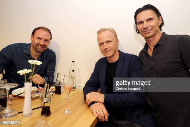 Jens Nowotny Carsten Ramelow and Thomas Brdaric are seen nduring the Club Of Former National Players Meeting at BayArena on June 8 2018 in Leverkusen...
