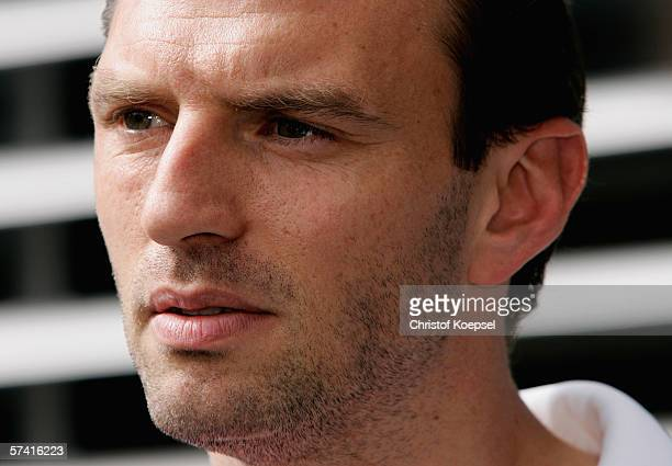 Jens Nowotny speaks to the media after the arrival of the German National Team at the Hilton Hotel on April 24 2006 in Dusseldorf Germany