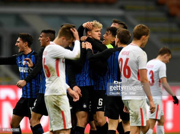Jens Odgaard of FC Internazionale celebrates after scoring the second goal during the UEFA Youth League match between FC Internazionale U19 and...