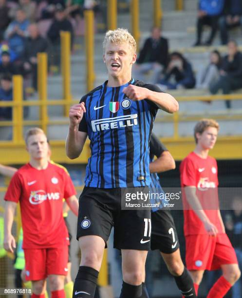 Jens Odgaard of FC Internazionale celebrates his goal during the UEFA Youth League Domestic Champions Path match between FC Internazionale and...