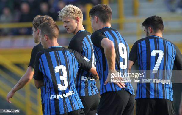 Jens Odgaard of FC Internazionale celebrates his goal with his teammates during the UEFA Youth League Domestic Champions Path match between FC...
