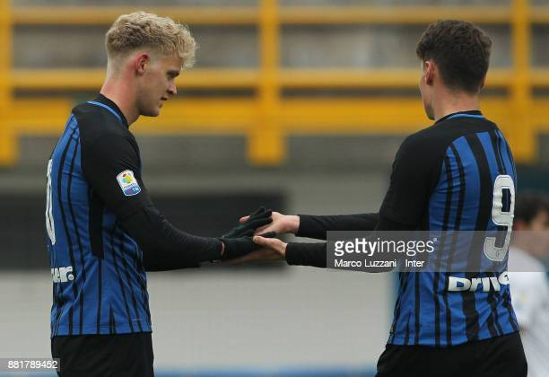 Jens Odgaard of FC Internazionale celebrates with his teammate Andrea Pinamonti after scoring the opening goal during the Serie A Primavera match...