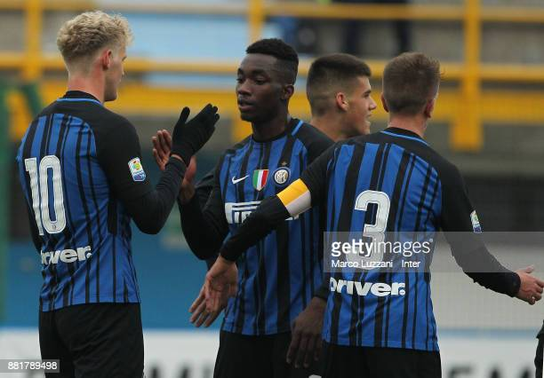 Jens Odgaard of FC Internazionale celebrates with his teammate Yann Karamoh after scoring the opening goal during the Serie A Primavera match between...