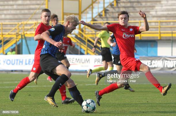 Jens Odgaard of FC Internazionale is challenged during the UEFA Youth League Domestic Champions Path match between FC Internazionale and Esbjerg fB...