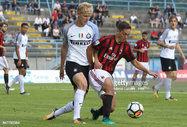Jens Odgaard of FC Internazionale Milano competes for the ball during the Serie A Primavera match between AC Milan U19 and FC Internazionale U19 on...