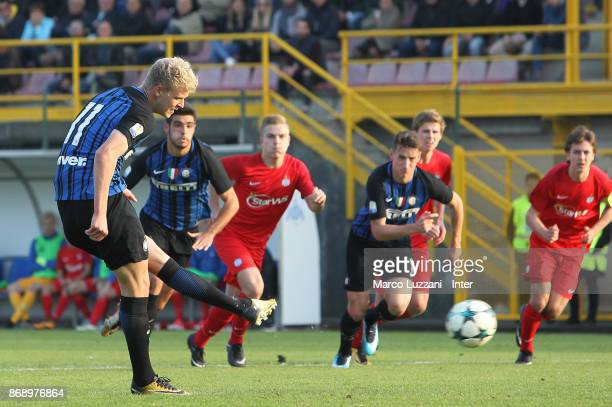 Jens Odgaard of FC Internazionale scores his goal from the penalty spot during the UEFA Youth League Domestic Champions Path match between FC...