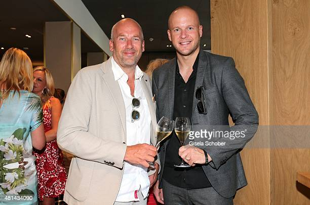 Jens Schniedenharn and his brother Bjoern Schniedenharn during the opening of the Grey's Bar at H'Otello on July 20 2015 in Munich Germany