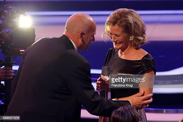 Jens Schniedenharn and Suzanne von Borsody attend the Deutscher Fernsehpreis 2014 show on October 02 2014 in Cologne Germany