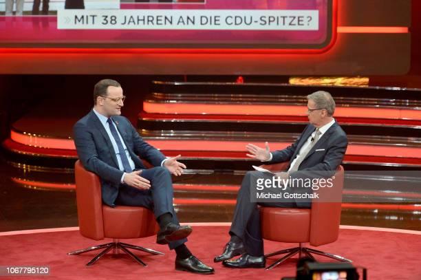 Jens Spahn and Günther Jauch speak on stage during the tv show '2018 Menschen Bilder Emotionen' on December 3 2017 in Cologne Germany