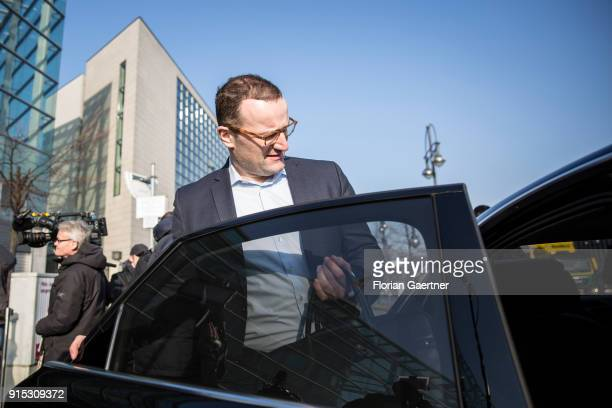 Jens Spahn CDU leaves the party headquarter of the CDU during the coalition negotiations on February 07 2018 in Berlin Germany The SPD the German...