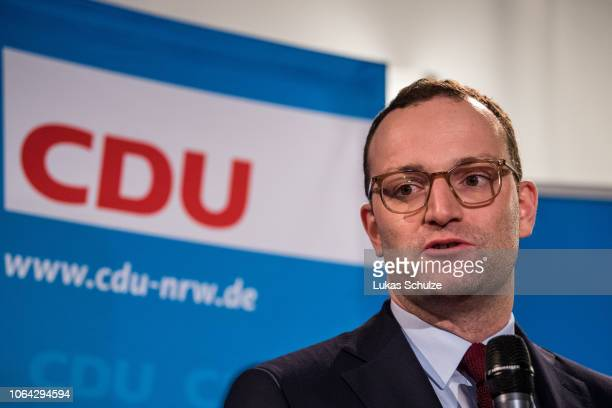 Jens Spahn currently German Health Minister and leading member of the German Christian Democrats speaks to the media before attending a meeting of...