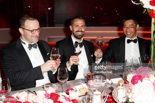 Jens Spahn Daniel Funke and Philipp Roesler during the Rosenball charity event at Hotel Intercontinental on May 5 2018 in Berlin Germany