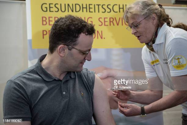 Jens Spahn German Minister of Health receives a flu shot during a post service vaccination campaign on October 29 2019 in Berlin Germany The Health...