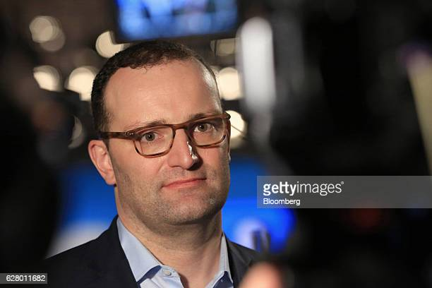 Jens Spahn Germany's deputy finance minister and Christian Democratic Union party member pauses during a Bloomberg Television interview at the CDU...