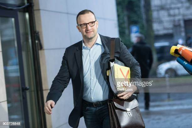 Jens Spahn of the German Christian Democrats arrives at the headquarters of the German Social Democrats for the conclusion of preliminary coalition...