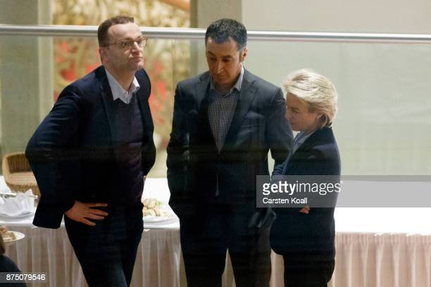 Jens Spahn of the German Christian Democrats Cem Oezdemir coleader of German Greens Party and German Defense Minister Ursula von der Leyen talk...