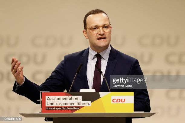 Jens Spahn one of three candidates for the new leadership of the German Christian Democrats addresses delegates at the federal congress of the CDU on...