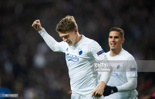 Jens Stage and Pieros Sotiriou of FC Copenhagen celebrate after scoring their first goal during the UEFA Europa League match between FC Copenhagen...