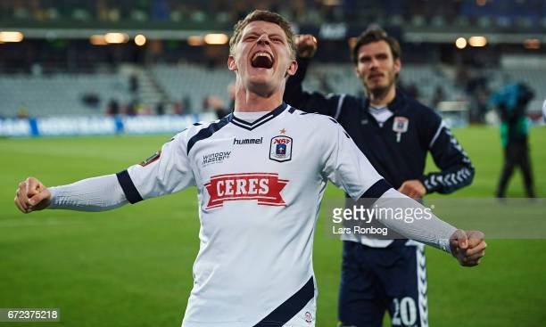Jens Stage head coach of AGF Aarhus celebrates after the Danish Alka Superliga match between AGF Aarhus and AaB Aalborg at Ceres Park on April 24...
