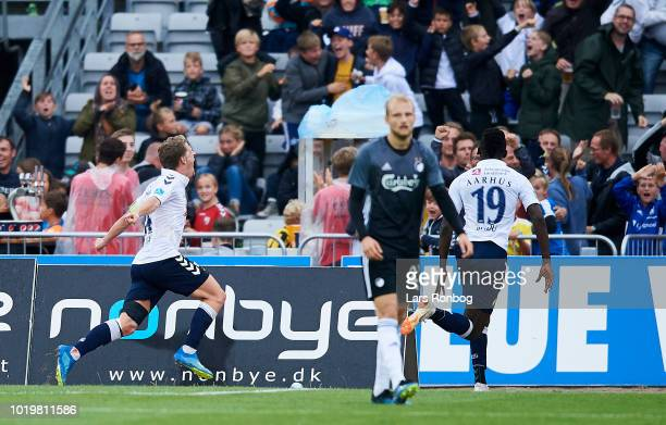 Jens Stage of AGF Aarhus celebrates after scoring their first goal during the Danish Superliga match between AGF Aarhus and FC Copenhagen at Ceres...
