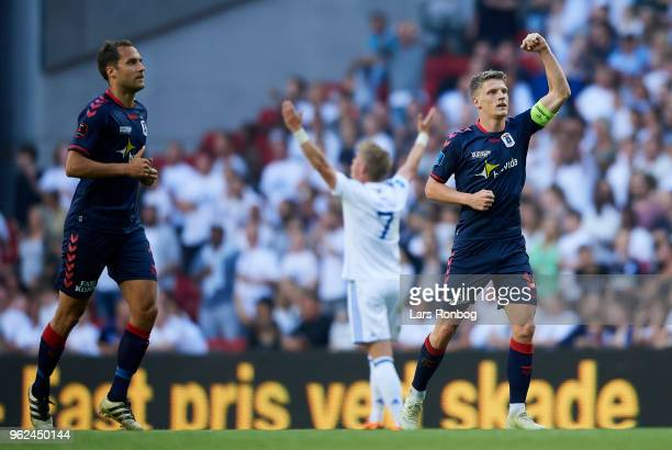 Jens Stage of AGF Aarhus celebrates after scoring their first goal during the Danish Alka Superliga Europa League Playoff match between FC Copenhagen...