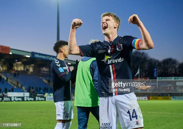 Jens Stage of AGF Aarhus celebrates after the Danish Superliga match between Sonderjyske and AGF Aarhus at Sydbank Park on April 15 2019 in Haderslev...