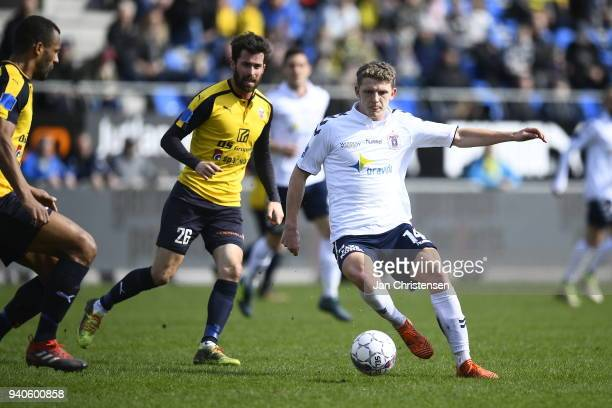Jens Stage of AGF Aarhus in action during the Danish Alka Superliga match between Hobro IK and AGF Aarhus at DS Arena on April 1 2018 in Hobro Denmark