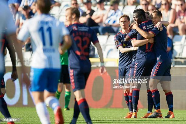 Jens Stage of AGF Arhus and teammates celebrate after his 01 goal during the Danish Alka Superliga match between OB Odense and AGF Arhus at EWII Park...