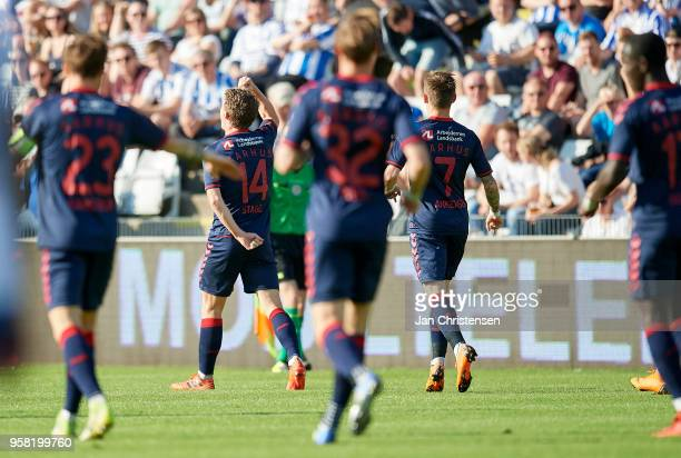 Jens Stage of AGF Arhus celebrate after his 01 goal during the Danish Alka Superliga match between OB Odense and AGF Arhus at EWII Park on May 13...