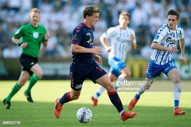 Jens Stage of AGF Arhus in action during the Danish Alka Superliga match between OB Odense and AGF Arhus at EWII Park on May 13 2018 in Odense Denmark