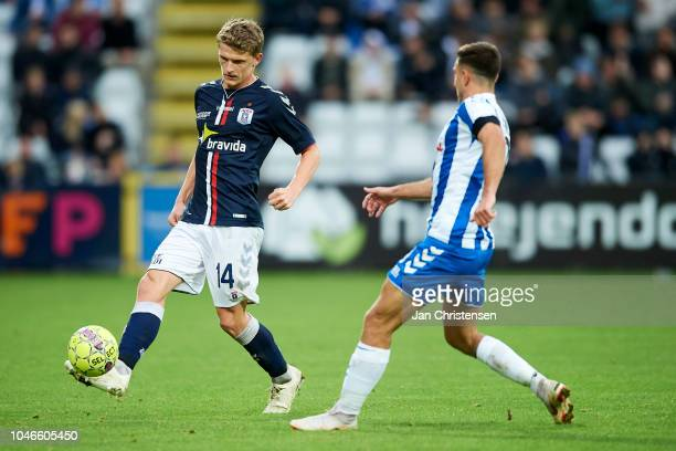 Jens Stage of AGF Arhus in action during the Danish Superliga match between OB Odense and AGF Arhus at Nature Energy Park on October 06 2018 in...