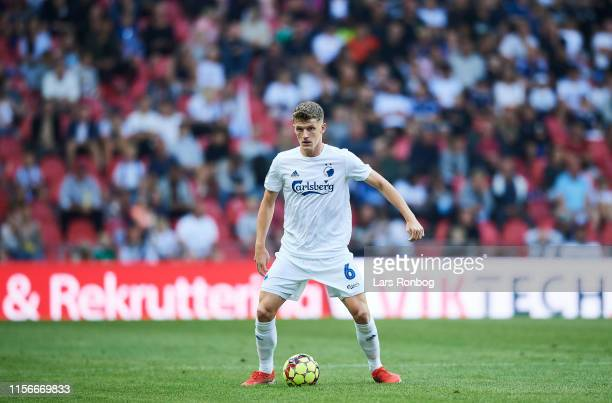 Jens Stage of FC Copenhagen controls the ball during the Danish 3F Superliga match between FC Copenhagen and AGF Aarhus at Telia Parken on July 19...