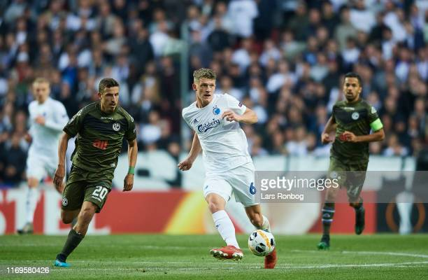 Jens Stage of FC Copenhagen controls the ball during the UEFA Europa League match between FC Copenhagen and FC Lugano at Telia Parken on September 19...