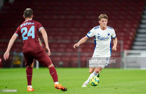 Jens Stage of FC Copenhagen controls the ball during the UEFA Europa League Playoff match between FC Copenhagen and HNK Rijeka at Parken on October...