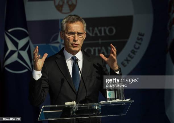Jens Stoltenberg NATO Secretary General speaks at the opening ceremony of civil emergency exercise Srbija 2018 in Mladenovac on October 8 2018