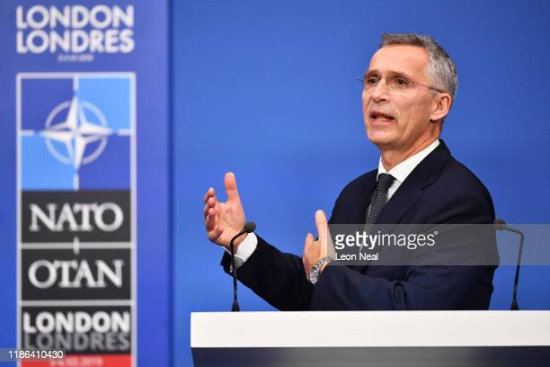 Jens Stoltenberg Secretary General of NATO talks at a press conference while attending the NATO summit at the Grove Hotel on December 4 2019 in...