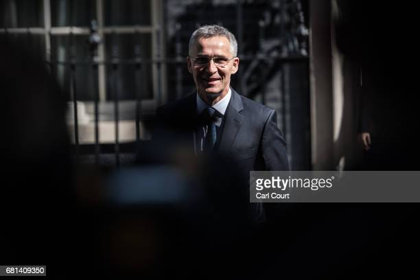 Jens Stoltenberg the Secretary General of NATO speaks to the media in Downing Street after meeting Prime Minister Theresa May on May 10 2017 in...