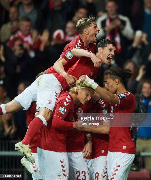 Jens Stryger Larsen Andreas Christensen Kasper Dolberg Yssuf Poulsen and Pierre Emile Hojbjerg of Denmark celebrate after scoring their first goal...