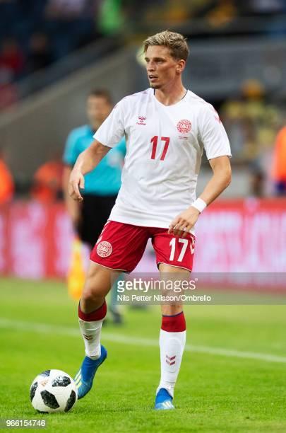 Jens Stryger Larsen of Denmark during the International Friendly match between Sweden and Denmark at Friends Arena on June 2 2018 in Solna Sweden