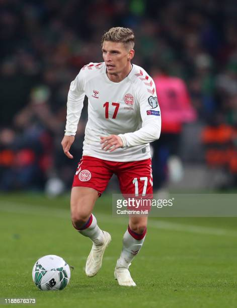Jens Stryger Larsen of Denmark during the UEFA Euro 2020 qualifier between Republic of Ireland and Denmark so at Dublin Arena on November 18, 2019 in...
