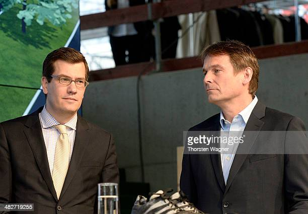 Jens Thiemer , head of communication marketing of Mercedes Benz and Guenter Weigl , head globale sport marketing and sport relations of Adidas look...