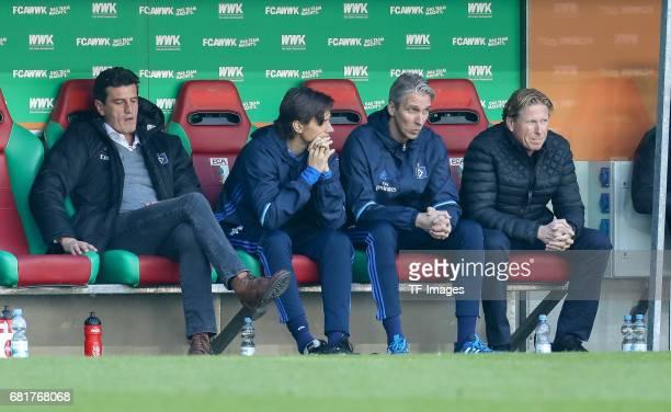 Jens Todt of Hamburg Head coach Markus Gisdol of Hamburg looks dejected during the Bundesliga match between FC Augsburg and Hamburger SV at WWK Arena...