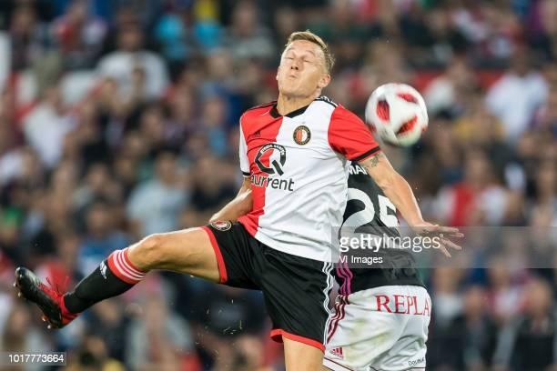 Jens Toornstra of Feyenoord Achraf El Mahdioui of AS Trencin during the UEFA Europa League third round qualifying second leg match between Feyenoord...