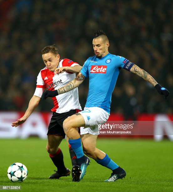 Jens Toornstra of Feyenoord and Marek Hamsik of SSC Napoli during the UEFA Champions League group F match between Feyenoord and SSC Napoli at...