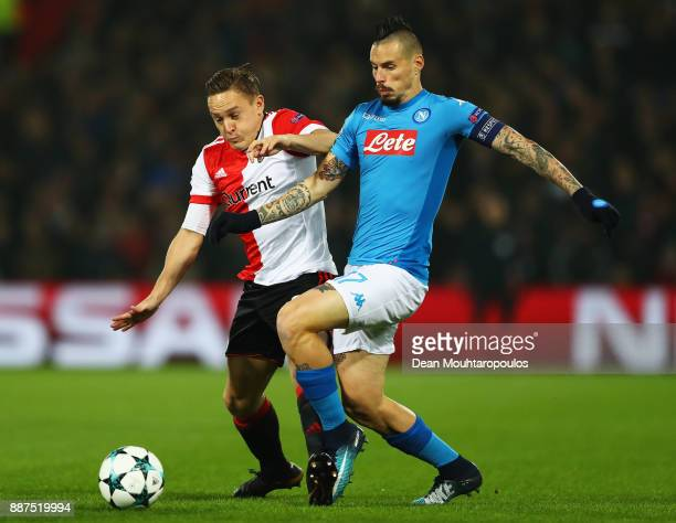 Jens Toornstra of Feyenoord battles for the ball with Marek Hamsik of Napoli during the UEFA Champions League group F match between Feyenoord and SSC...