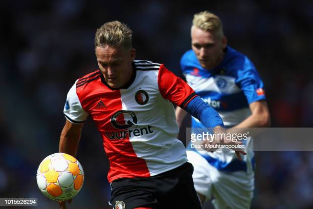 Jens Toornstra of Feyenoord battles for the ball with Stef Nijland of De Graafschap during the Eredivisie match between De Graafschap and Feyenoord...